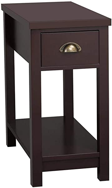 Topeakmart 24 Side End Table 2 Tier Storage Cabinet Night Stand With One Drawer Espresso