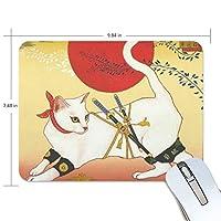 マウスパッド 浮世忍者猫 ゲーミングマウスパッド 滑り止め 19 X 25 厚い 耐久性に優れ おしゃれ