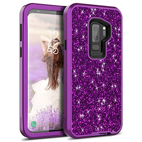 S9 Plus Case, WeLoveCase Galaxy S9 Plus Case Glitter Sparkle Design Three Layer Shockproof 3 in 1 Hybrid Heavy Duty Protective Cover Case for Samsung Galaxy S9 Plus Case (Purple)