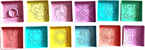 DivyaKala/ Plastic Powder Rangoli Stencil/ Home decor / powder rangoli/Small (DK10 , Set Of 12)