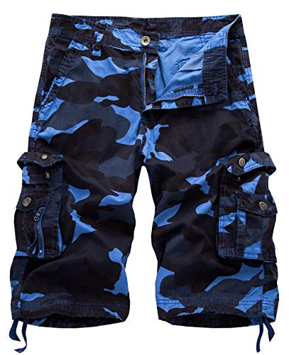 IDEALSANXUN Men's Casual Loose Fit Multi-Pockets Military Cargo Shorts (Camo Blue, 38)