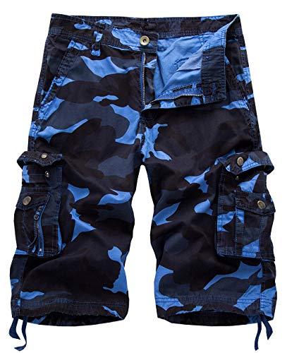 IDEALSANXUN Men's Casual Loose Fit Multi-Pockets Military Cargo Shorts (Camo Blue, 38)