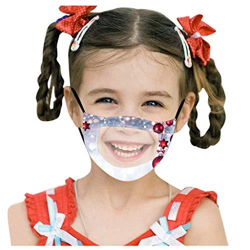 LINTONG 1Pc NiñOs Navidad Imprimir Cara Sonriente Transparente A Cuadros Y Labios Tontos Ma`Scara