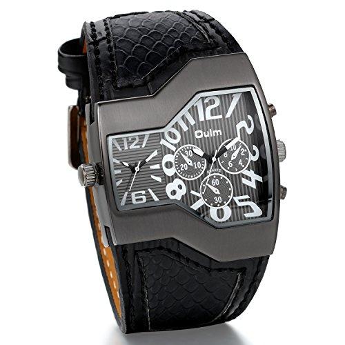 JewelryWe Herrenuhren Analog Quarz Casual Armbanduhr Schwarz Leder Armband Sportuht mit Digital Zifferblatt Vatertagsgeschenk