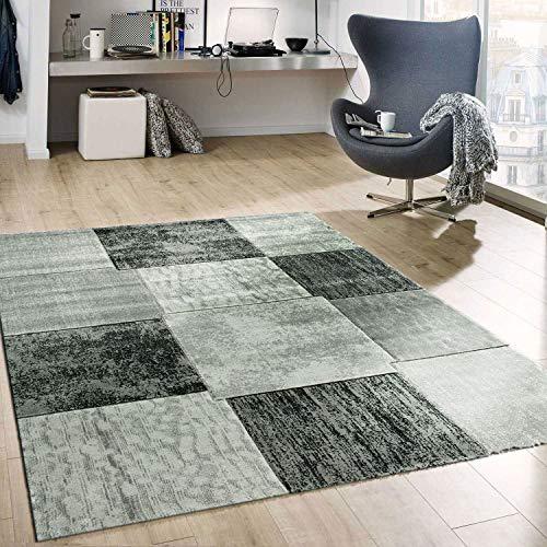 VIMODA Alfombra Moderna de diseño Estilo Patchwork Jaspeada de Color Gris, Maße:120x170 cm