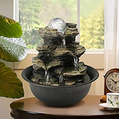 Spinning Orb Rock Cascading Tabletop Fountain, Zen Meditation Indoor Waterfall Feature with LED Light for Home Office Bedroom Relaxation
