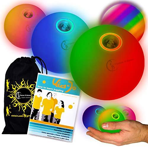 LED Jonglierbälle 3er Set (Langsam Rainbow-Effekt) - Profi Glow Leuchtbälle mit LED-Licht und Batterien +Tasche. Set Ideal Für Anfänger Wie Auch Für Profis.