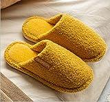 ypyrhh Zapatos de Casa Interior Suave Algodón Zapatilla,Indoor Non-Slip Fur Slippers, Platform Confinement Shoes-Yellow_36-37