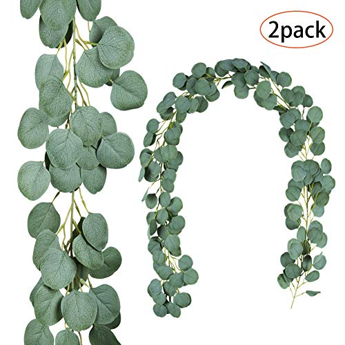 TOPHOUSE 2 Pack 6.5 Feet Artificial Silver Dollar Eucalyptus Leaves Garland 164 Pcs Leaves Garland Greenery Wedding Backdrop Arch Wall Decor in Grey Green