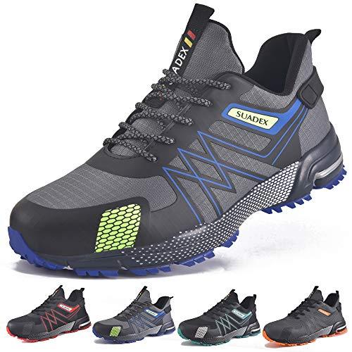 SUADEEX Zapatos de Seguridad Hombre Mujer Ligero Zapatos Seguridad Zapatillas de Seguridad Hombre Trabajo Zapatos de Trabajo Antideslizante Transpirables Industriales,Azul,43EU