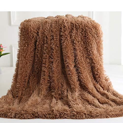 Wangmengzi Coperta ultra morbida in finta pelliccia, lussuosa coperta a pelo lungo, calda e morbida per l\'inverno. (marrone, 150 x 180 cm)