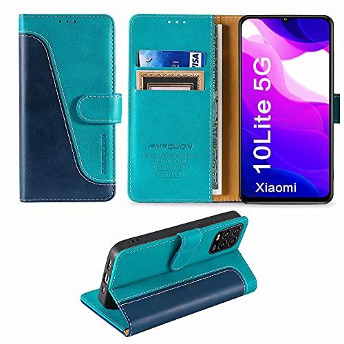 FMPCUON Handyhülle für Xiaomi Mi 10 Lite 5G Hülle Leder,Premium Klapphülle Handytasche Flip Hülle Handy Hüllen Schutzhülle für Xiaomi Mi 10 Lite 5G (6.57 Zoll),Blau/Grün