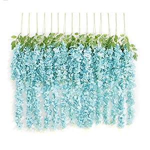 Huata 10PCS 3.2 Feet Artificial Flower Silk Wisteria Vine Ratta Hanging Wedding Decor Garlands