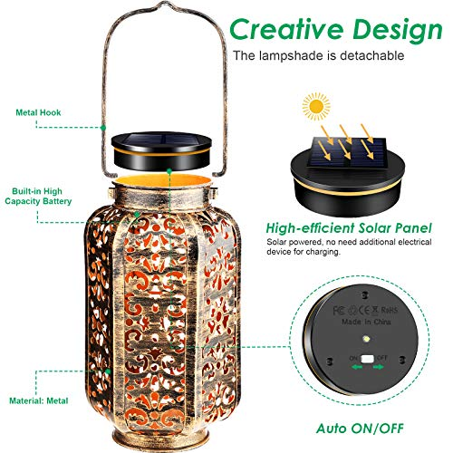 URPOWER Solar Lights Outdoor Metal Solar Lantern Outdoor Hanging Retro Decorative Lanterns with Durable Handle Solar Powered Waterproof LED Table Lanterns Lighting for Yard Tree Fence Patio, 2 Pack