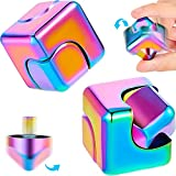 Zhanmai 2 Pieces Fidget Cube Spinner Anti-Anxiety Focusing Fidget Toys 4-in-1 Spinning Toy Neon Rainbow Metallic Focusing Fidget Toys Cube Finger Top for Adults Anxiety Stress Relief
