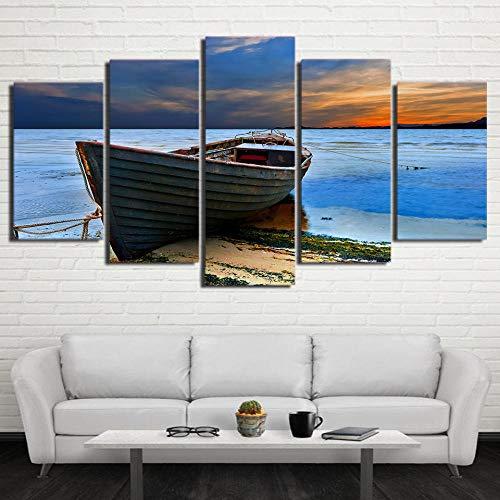 ukooo Fotolijst, HD-canvas, kunstdruk, 5-delig, modern, hertens, voor woonkamer, decoratie, Artwork-12 x 16/24 / 32 inch, met lijst