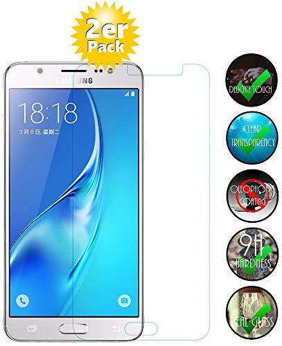 Smartphone Equipment [2er Pack] Panzerglas für Samsung Galaxy J5 2016 Echt-Hartglas 9H, Glasfolie Schutzfolie Glas Folie Panzerfolie Display Schutz
