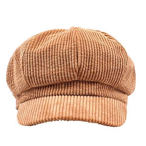 Amorar Sombrero Octogonal Estilo Vintage británico para Mujer Sombrero de Invierno Boinas de Pana Sombrero de Vendedor de periódicos Sombrero Plano Picos