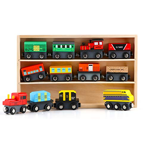 Canuan Wooden Train Vehicle Set 12 Pcs Cars for Kids Magnetic Stitching Engines Thomas Locomotive Tank and Wagons Toys Set for Toddler Boys and Girls