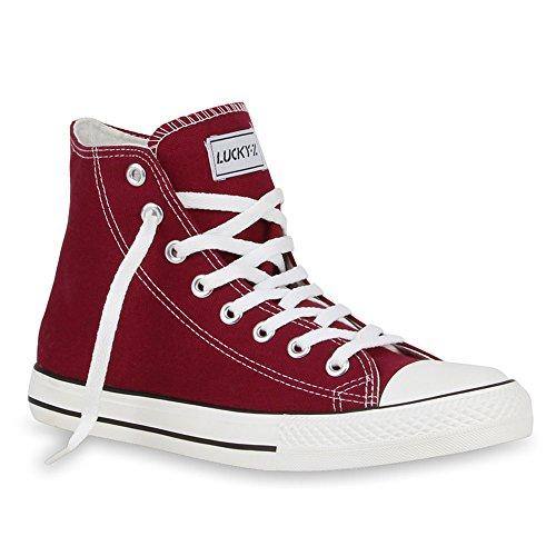 stiefelparadies Herren Sneakers Sneaker High Denim Turn Camouflage Stoff Schnürer Schuhe 54240 Dunkelrot Ambler 38 Flandell