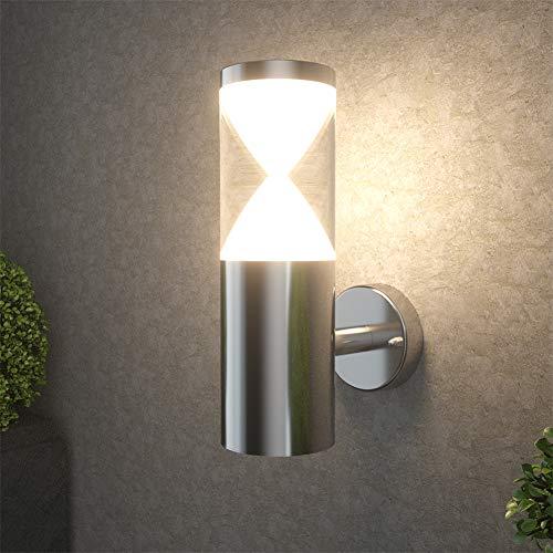NBHANYUAN Lighting® Aussenleuchte/Außenlampe LED Wand Lampe Außen für Balkon, Garten Silber Edelstahl Acrylic 3000K Warmweiß Licht 220-240V 1000LM 9W IP44 (ohne PIR Sensor)