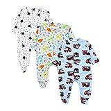 TupTam Baby Jungen Schlafstrampler mit Fuß 3er Pack, Farbe: Farbenmix 6, Größe: 56