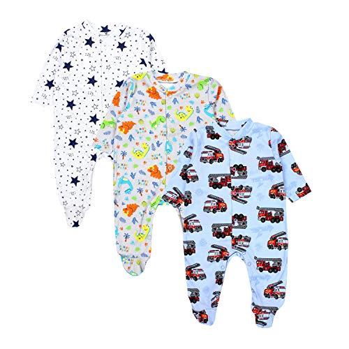 TupTam Baby Jungen Schlafstrampler mit Fuß 3er Pack, Farbe: Farbenmix 6, Größe: 92