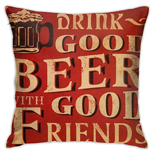 Quote Vintage Drink Beer Lettering Red Throw Pillow Covers Decorative 18x18 Inch Pillowcase Square Cushion Cases for Home Sofa Bedroom Livingroom