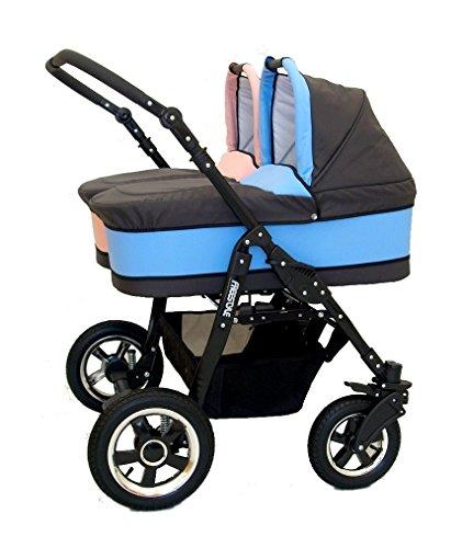 Passeggino per bambini, gemellare.con culle, seggiolini e accessori,Colore: rosa e blu.