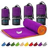 Fit-Flip Toalla Microfibra – en Todos los tamaños / 18 Colores – compacta, Ultraligera y de Secado rápido – Toalla Gym, Toalla Viaje y Toalla Piscina (40x80cm Violeta - Borde Naranja)