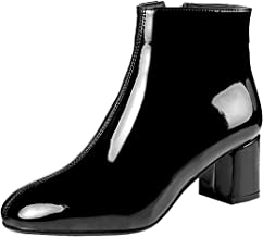 Artfaerie Women's Block High Heel Platform Patent Leather Ankle Boots with Fur Zip up Booties Shoes