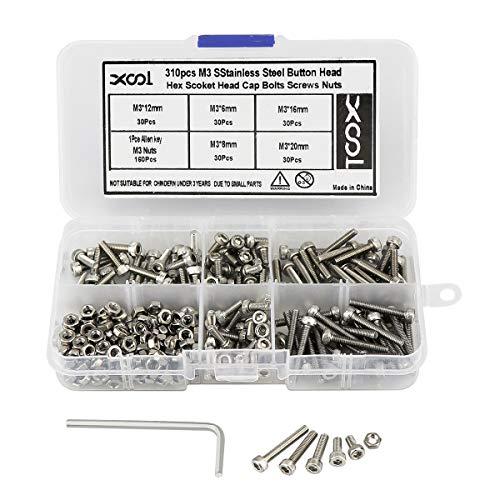 M3 x 3mm Hex Socket Head Cap Screws,Pack 100-piece,Stainless Steel,Full Thread,Metric,Knuled Head
