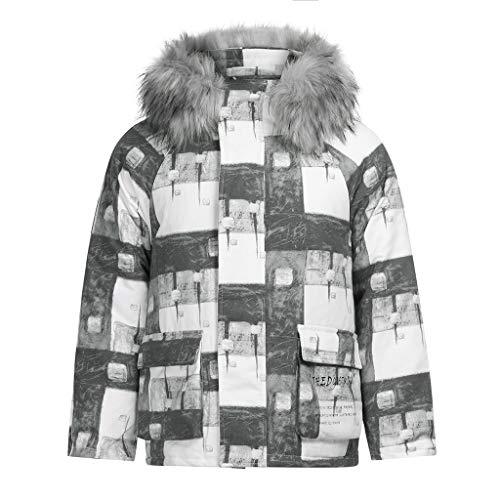 Buy jin&Co Winter Men's Fashion Casual Printed Hooded Jacket Oversized Winter Warm Outdoor Bread C...