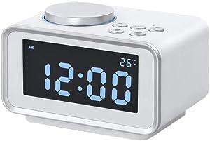 ZTMN Réveil Heavy Sleepers Chambre Snooze Horloge de Bureau Électrique LED Larege Affichage numérique Température Radio FM (Couleur: B)