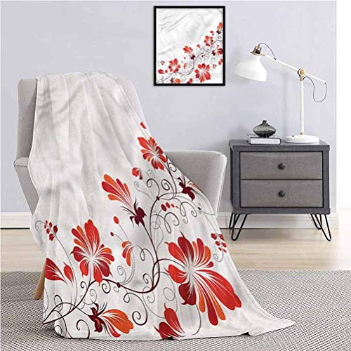 Toopeek Chinese Soft Multi-Size Blankets Floral Petal Ornaments All-Season Warmth Plush Blanket for Sofa Bed W70 x L70 Inch