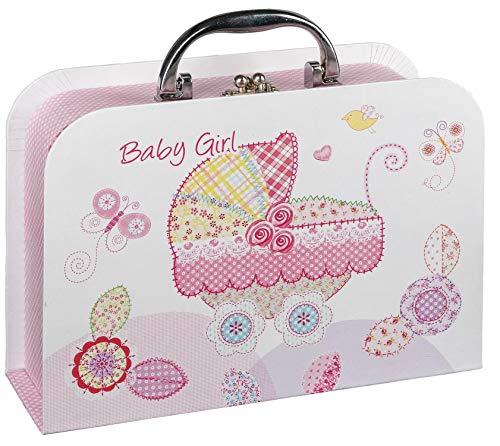 Idena 30212 - Geschenkkoffer Baby Girl, Größe 22,8 x 16,5 x 7,4 cm, Geschenkbox, Geburt, Baby Party, Geschenk, Erinnerungsbox, Aufbewahrungsbox, Fotobox
