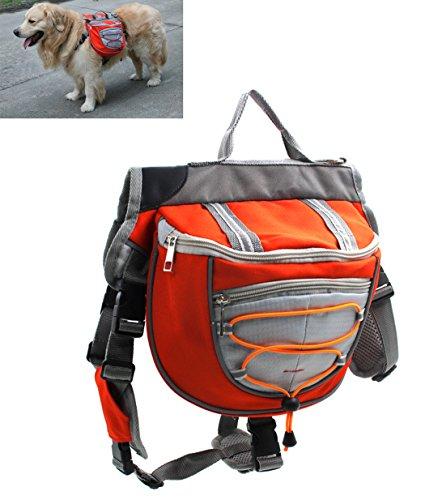 Xiaoyu Hund Rucksack, verstellbare Satteltasche Kabelbaum Träger, für Reisen Wandercamping, orange, S
