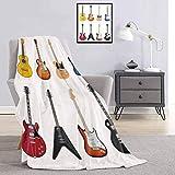 Toopeek Guitare Couverture imprimée de qualité commerciale Une grande variété d'instruments à cordes Motif musical réaliste Jazz Blues Acoustique Queen King size 70 x 84 cm Multicolore