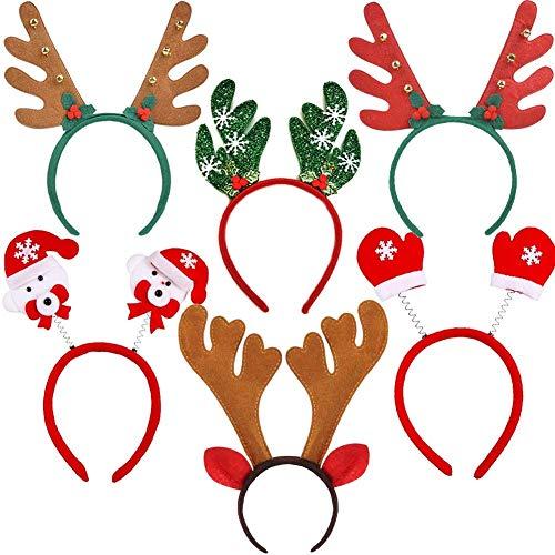 Dusenly 6 Pack Diadema navideña Astas de Reno Diadema Sombrero de Navidad para niños y Adultos Suministros para Fiestas navideñas