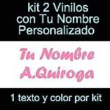 Vinilin - Pegatina Vinilo Tu Nombre o Texto Personalizado - Bici, Casco, Pala De Padel, Monopatin, Coche, Moto, etc. Kit de Dos Vinilos (Rosa)
