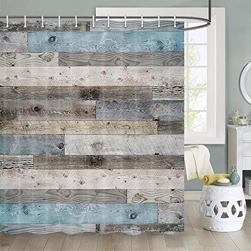 Rustic Shower Curtain, Rustic Wooden Floor Planks Grungy Look Farm House Country Barn Farm Shower Curtain Sets, Fabric Wood Shower Curtain Hooks Include, 70 in