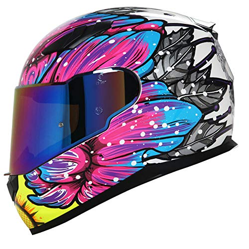 GENGJ Casque Hommes Et Femmes Moto Casco De Moto Voiture De Deporte Casque Integal Curso Personalité Couverture Complète,A,XL
