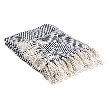 DII Rustic Farmhouse Cotton Chevron Blanket Throw with Fringe For Chair, Couch, Picnic, Camping, Beach, & Everyday Use , 50 x 60  - Urban Chevron French Blue