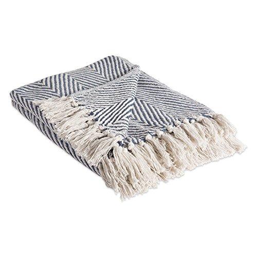 DII 100% Cotton Throw Blanket, with Decorative Fringe, 50 x 60, French Blue Urban Chevron