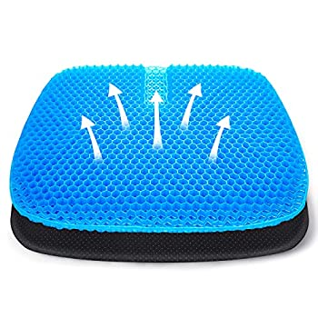 Tomight Gel Seat Cushion Breathable Office Chair Cushion for Pressure Relief Tailbone Back Pain Relief Honeycomb Gel Cushion with Non-Slip Cover for Car/Office/Home/Wheelchair