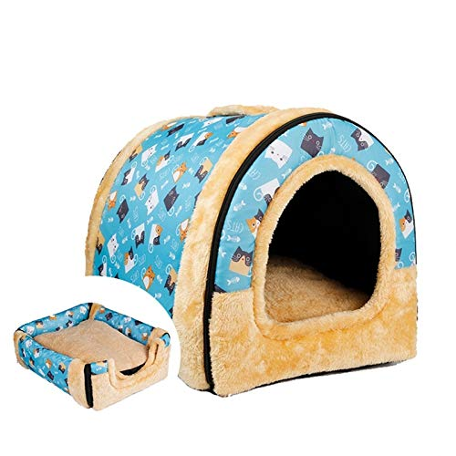 Kennel, 2-in-1 Pet Nest Washable Winter Cat Litter Yurt House Small Dog Puppies Four Seasons Universal (Color : A, Size : L)
