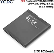 YCDC 1200mAh BL 5K BL-5K Battery for Nokia N85 N86 N87 C7 C7-00 701 X7 X7-00 2610S,Original BL-5K BL 5K Battery for Nokia N85 N86 8MP N87 2610S 701 Oro X7 C7-00