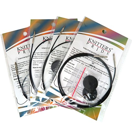 Knitters Pride Interchangeable Black Cord Replacement 4 Cord Pack - 24, 32 (2), 40