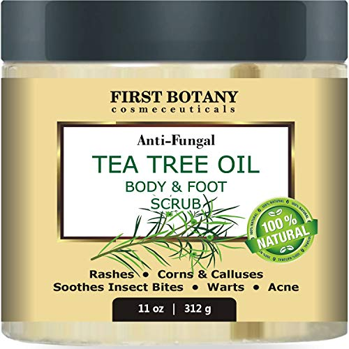 100% Natural Tea Tree Oil Body & Foot Scrub with Dead Sea Salt - Best for Acne, Dandruff and Warts, Helps with Corns, Calluses, Athlete foot, Jock Itch & Body Odor (11 oz)