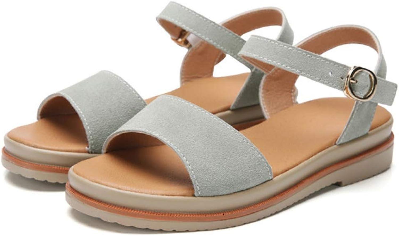 Women's Flat Low Heel shoes Summer Buckle Casual Open Toe Sandals Female Apricot Black Green Footwear